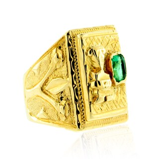 Suzy Levian Vintage 18K Gold Columbian Emerald Ring
