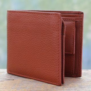 Handcrafted Men's Leather 'Dapper in Tan' Wallet (India)
