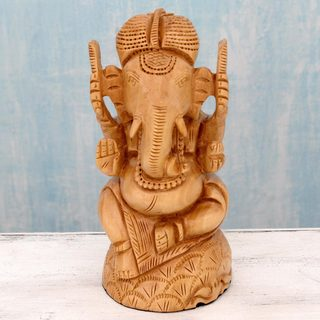 Handcrafted Kadam Wood 'Blessing of Ganesha' Sculpture (India)