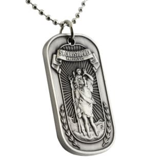 St. Christopher Stainless Steel Dog Tag Necklace with Keyring