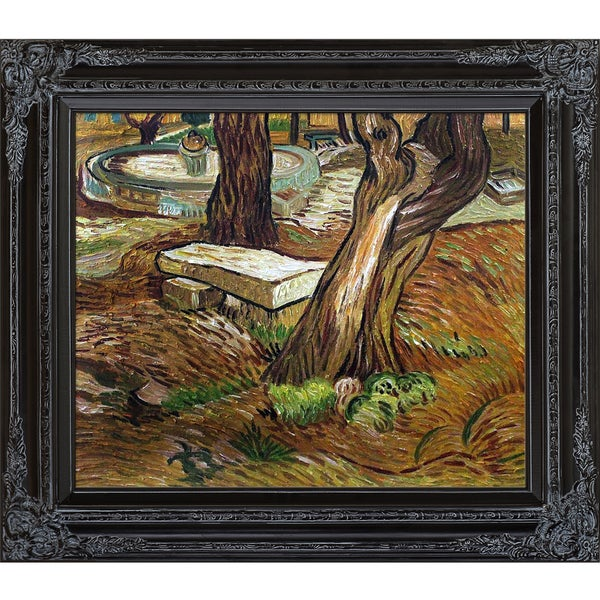 Vincent van Gogh 'The Bench at Saint Remy' Hand Painted Framed Canvas Art