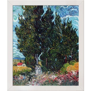Vincent van Gogh 'The Cypresses' Hand Painted Framed Canvas Art