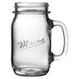 Anchor Hocking 16-Ounce Glass Mason Handled Mug, Set of 16