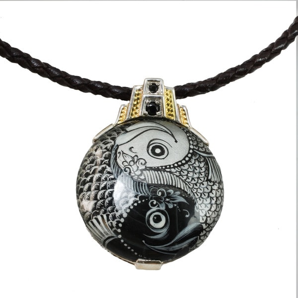 One-of-a-kind Micheal Valitutti Painted Ying-Yang on Black Onyx Men's Pendant