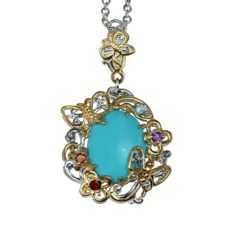 One-of-a-kind Micheal Valitutti Silver Sleeping Beauty Turquoise Butterfly Pendant