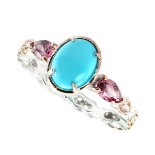 Michael Valitutti Sleeping Beauty Turquoise & Rhodolite Stackable Ring