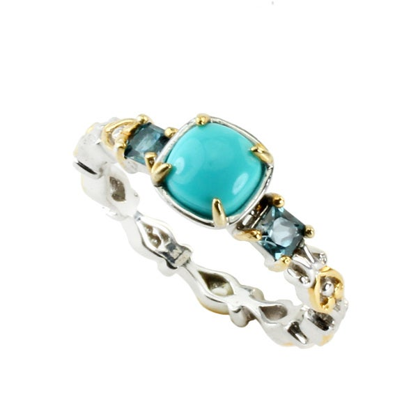 One-of-a-kind Michael Valitutti Sleeping Beauty Turquoise & London Blue Topaz Stackable Ring