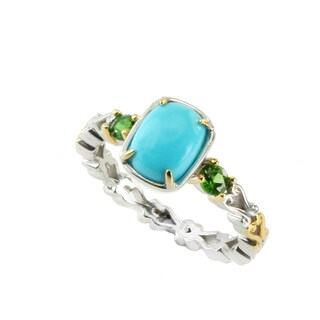 Michael Valitutti Sleeping Beauty Turquoise & Chrome Diopside Stackable Ring