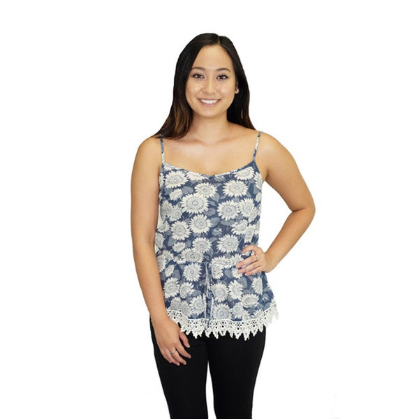 Blue Sunflower Print Top
