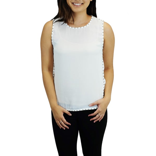 Women's Lulumari Studded White Sleeveless Top