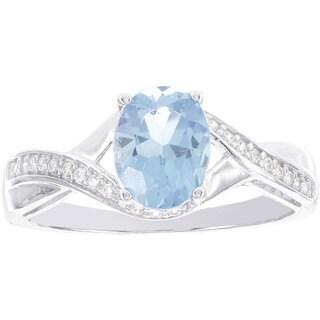 H Star 14k White Gold 1ct Blue Topaz and 1/8ct TDW Diamond Ring (H-I, I1-I2)