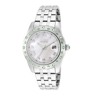 Invicta Women's Angel Stainless Steel Crystal Accented Bezel Mother-of-Pearl Watch