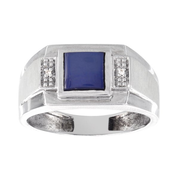 H Star 10K White Gold 1ct Blue Star Sapphire and 1/10ct Diamond Men's Ring (H-I, I1-I2) 16786488
