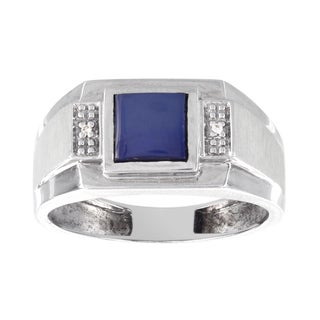 H Star 10K White Gold 1ct Blue Star Sapphire and 1/10ct Diamond Men's Ring (H-I, I1-I2)