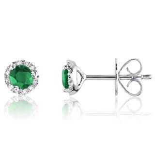 10k White Gold Round Emerald Diamond Martini Earrings