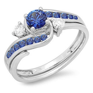 10k White Gold 7/8ct TDW Round Blue Sapphire and White Diamond Swirl Bridal Engagement Ring Matching Band Set