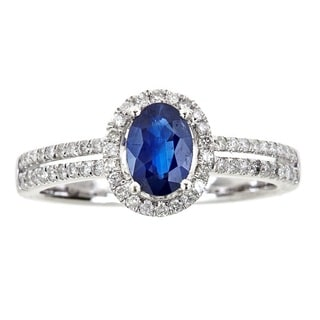 Anika and August 18k White Gold 1/3ct TDW Diamond and Oval-cut Blue Sapphire Ring (G-H, I1-I2)