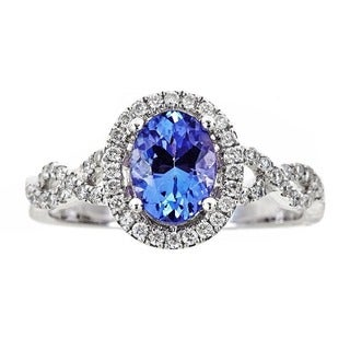Anika and August 14k White Gold 1/3ct TDW Diamond and Oval-cut Tanzanite Ring (G-H, I1-I2)
