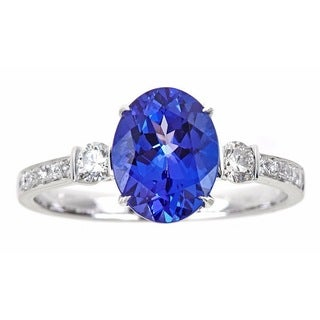 Anika and August 14k White Gold 1/4ct TDW Diamond and Oval-cut Tanzanite Ring (G-H, I1-I2)