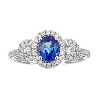 Anika and August 14k White Gold 1/2ct TDW Diamond and Oval-cut Blue Sapphire Ring (G-H, I1-I2)