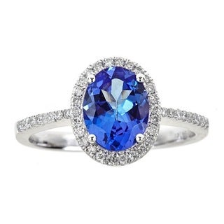 Anika and August 18K White Gold 1/4ct TDW Diamond and Oval-cut Tanzanite Ring (G-H, I1-I2)