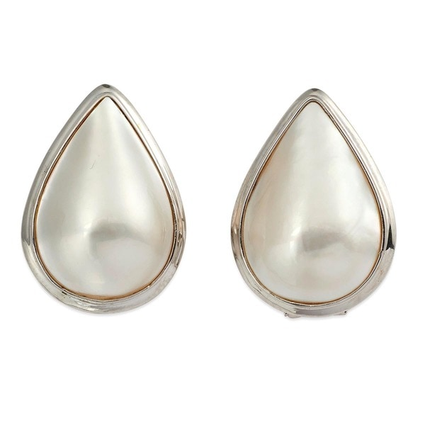 Kabella 14k White Gold Pear Mabe Pearl Classic Drop Earrings (22mm)