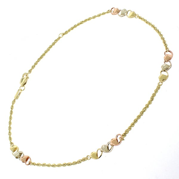 10k Yellow Gold Hollow Rope Tri-color Heart Anklet/ Bracelet