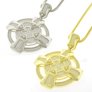 Sterling Silver Men's Cubic Zirconia Celtic Cross Charm Necklace