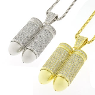 Sterling Silver Mens Double Bullet Cubic Zirconia Chain and Charm Set