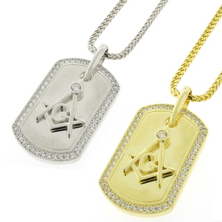 Sterling Silver Men's Cubic Zirconia Masonic Dog Tag Necklace