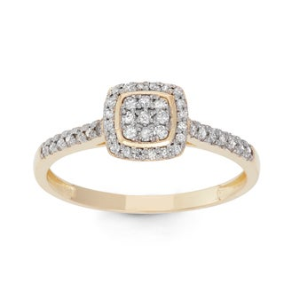 David Tutera 10k Gold 1/4ct TDW Diamond Square Micro Pave Ring (H-I, I1-I2)