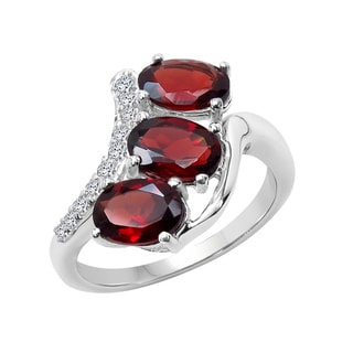 Sterling Silver Garnet and White Topaz Ring