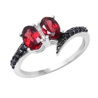 Sterling Silver Garnet and Black Spinal Ring
