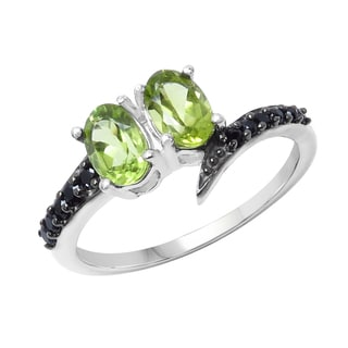 Sterling Silver Peridot and Black Spinal Ring