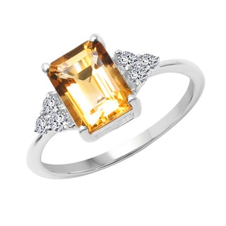 Sterling Silver Citrine and White Topaz Ring