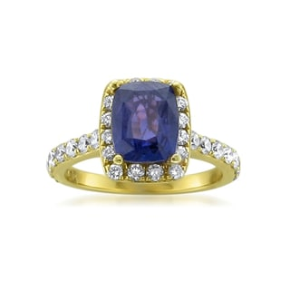 MONTEBELLO JEWELRY 18k Yellow Gold Sapphire and Diamond 3 3/4ct TGW Cushion-cut Certified One-of-a-Kind Ring (H-I, SI1-SI2)