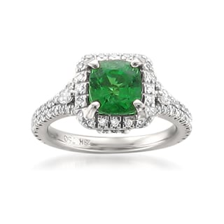 Montebello 18k Gold Green Tsavorite and Diamond 2 3/4ct TGW Cushion-cut Certified One-of-a-Kind Ring (H-I, SI2-I1)