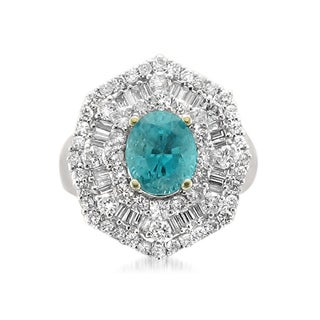 Montebello 18k Gold Blue Zircon and Diamond 5 1/3ct TGW Cushion-cut Certified One-of-a-Kind Ring (H-I, I1)