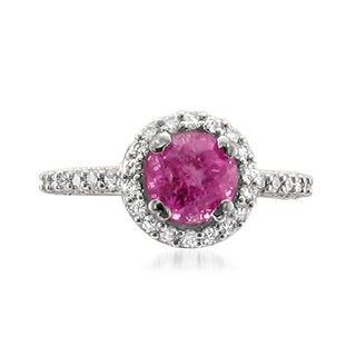 MONTEBELLO JEWELRY 14k Gold Pink Sapphire and Diamond 3 3/8ct TGW Certified One-of-a-Kind Ring (H-I, SI1-SI2)