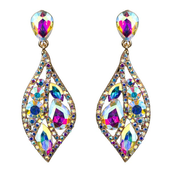 Crystal Rhinestone Leaf Evening Earrings