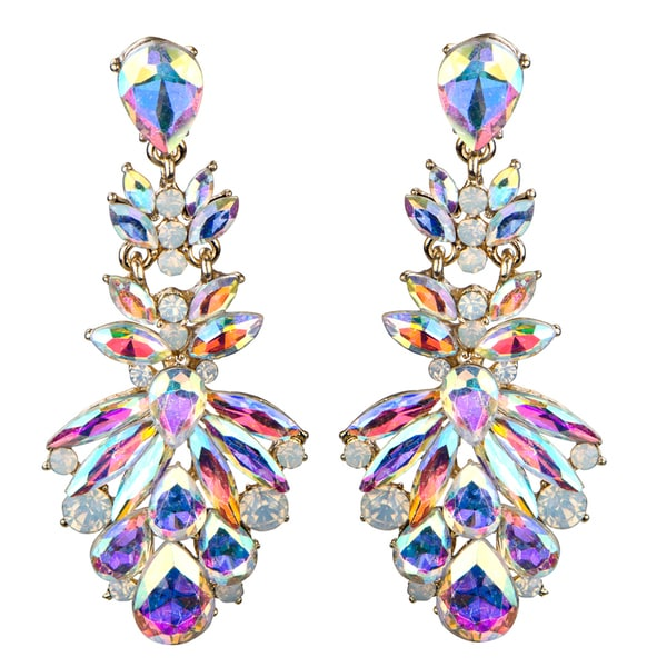 Marquise Crystal Rhinestone Cluster Evening Earrings