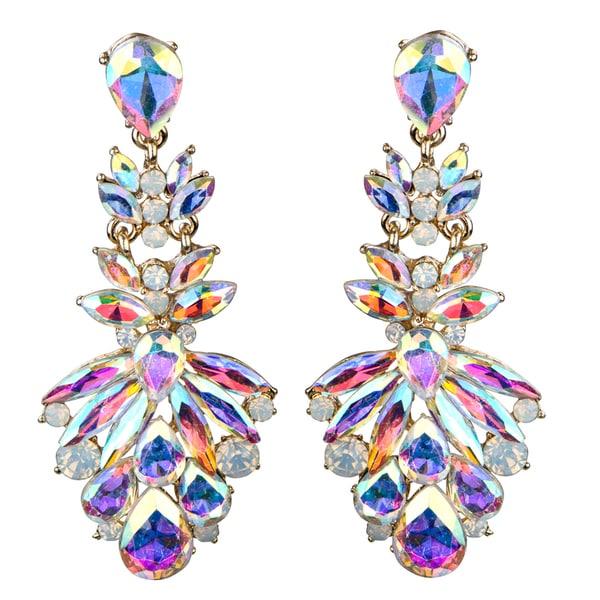 Marquise Crystal Rhinestone Cluster Evening Earrings