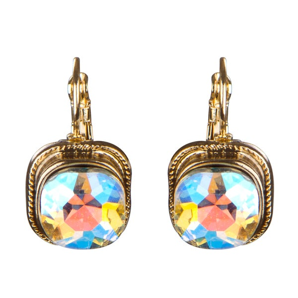 Cushion Rhinestone Drop Lever back Earrings