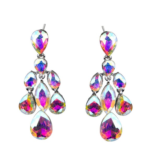Crystal Rhinestone Teardrop Chandelier Earrings