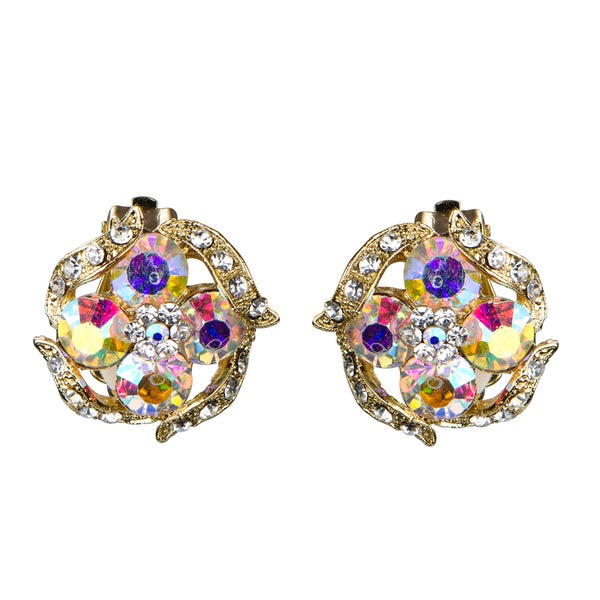 Crystal Round Button Clip on Earrings