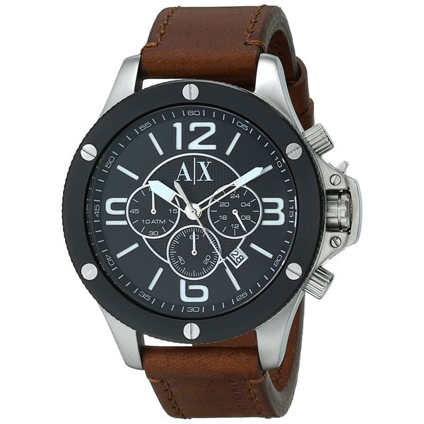 Armani Exchange Men's AX1509 Chronograph Brown Leather Watch
