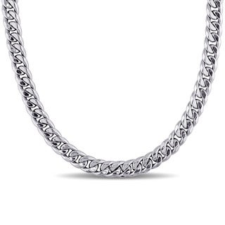 Miadora Signature Collection 10k White Gold Men's Hollow-link Chain Necklace