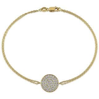 Miadora Signature Collection 18k Yellow Gold 1/2ct TDW Diamond Cluster Charm Bracelet (G-H, SI1-SI2)