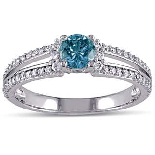 Miadora Signature Collection 10k White Gold 3/4ct TDW Blue and White Diamond Engagement Ring (G-H, I2-I3)