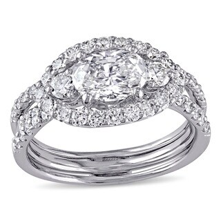 Miadora Signature Collection 18k White Gold 2 1/10ct TDW Diamond Bridal Ring Set (I-J, VS2)